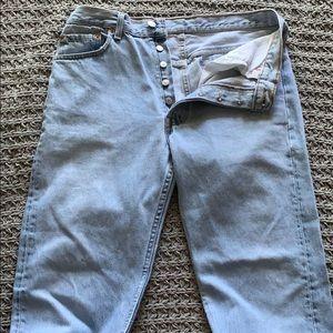 LEVIS   501 light wash button front jeans